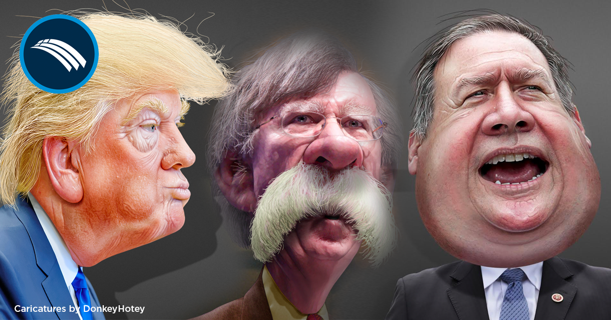 Image result for unflattering image of pompeo and bolton